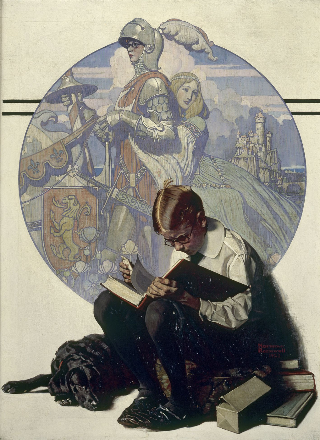 Norman Rockwell. Boy reading story