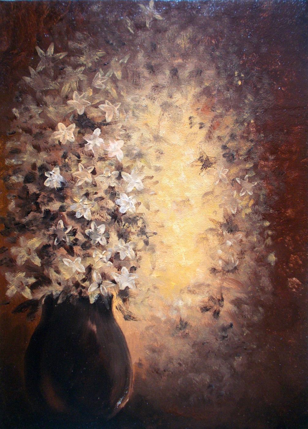 Vladimir Vasilyevich Abaimov. Flowers in brown Tones