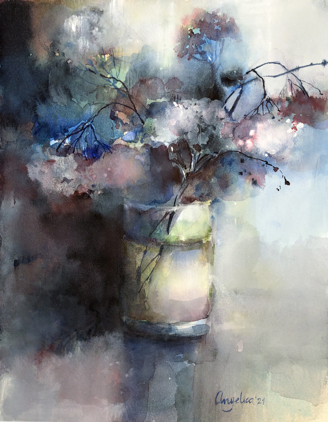 Angelica Osipova. Dried flowers in a glass