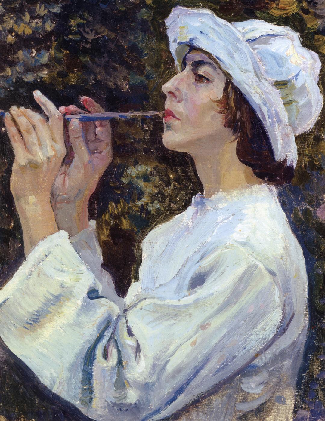 "Mikhail Vasilyevich Nesterov. Shepherd. Portrait Of N. M. Nesterova. Study for the painting ""Spring red"""