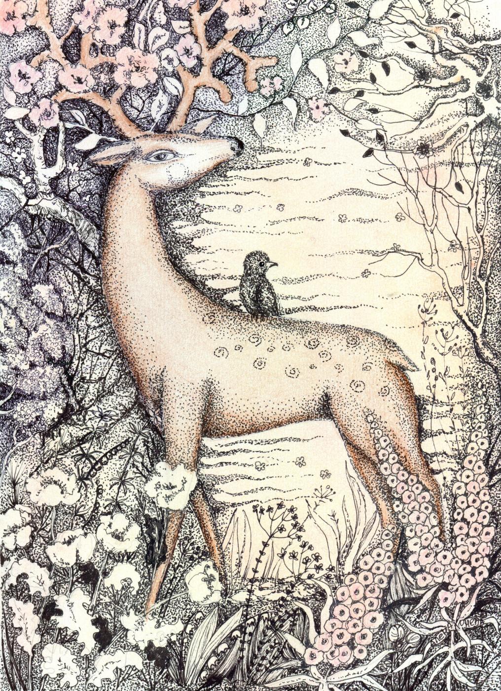 Olyona Ivanovna Koneva. Deer - Spring