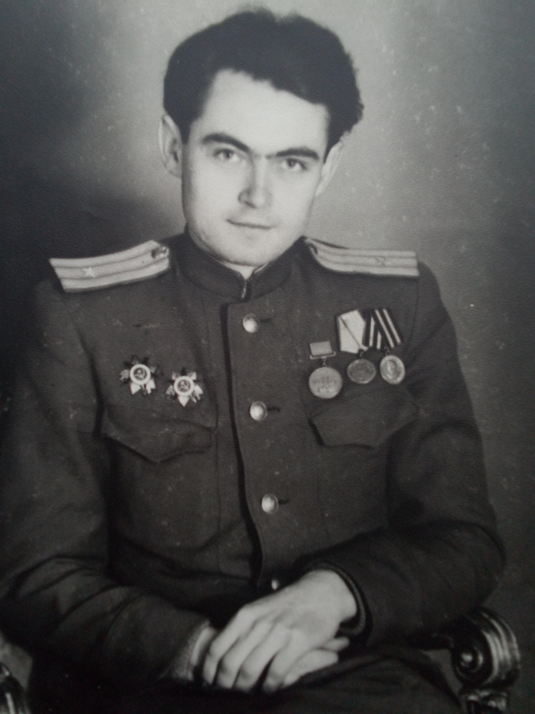 """Alexey Grishankov (Alegri). """"From Russian family albums. Ivan Andronikovich. Participant of the Second World War. 1945"""""""