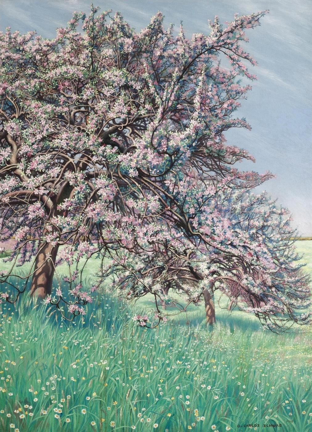 Carlos Schwabe. Blooming Apple tree.  One thousand nine hundred twelve