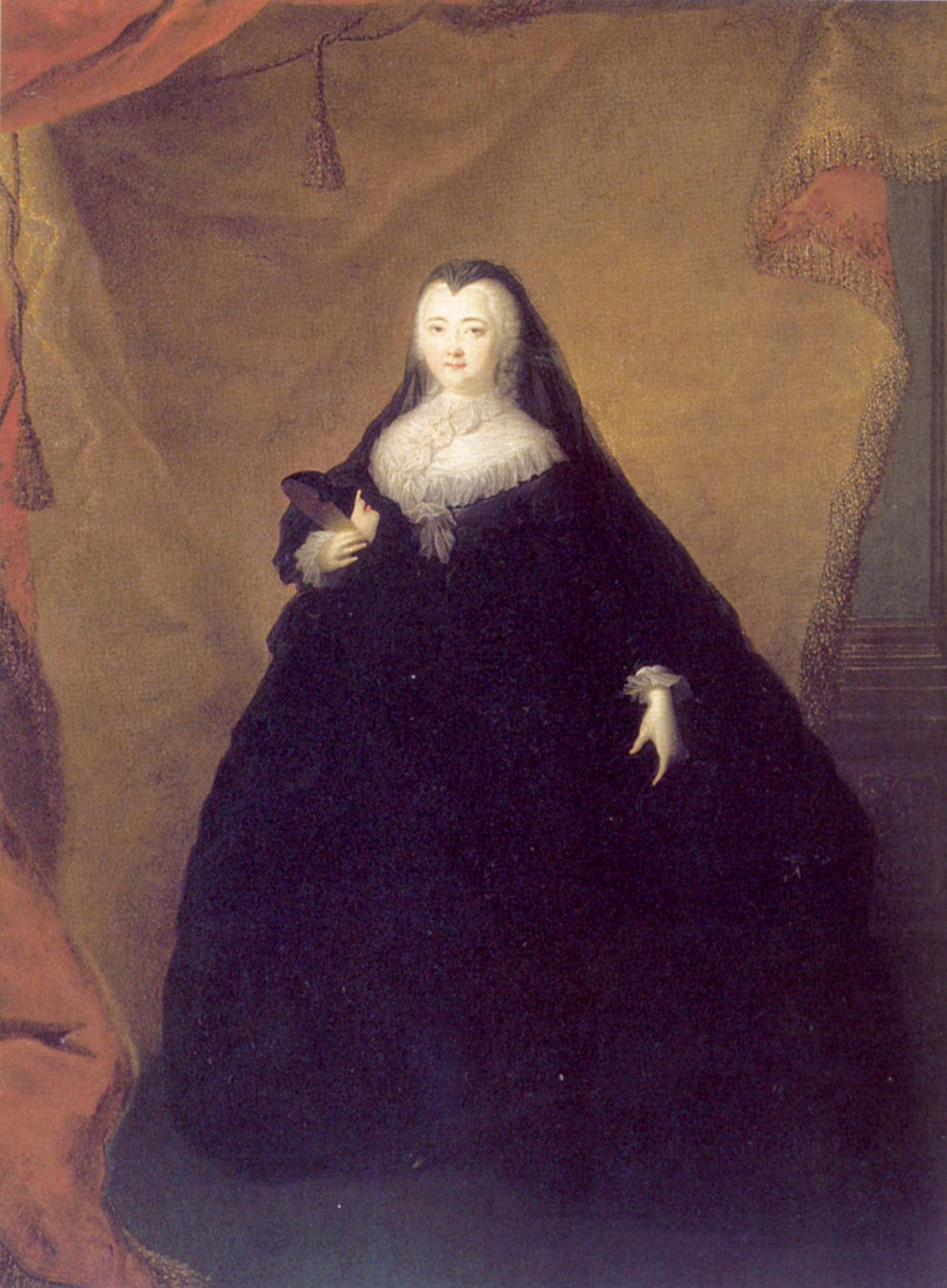 Georg-Christopher Grooth. Portrait of Elizabeth Petrovna in a black masquerade Domino mask in her hands