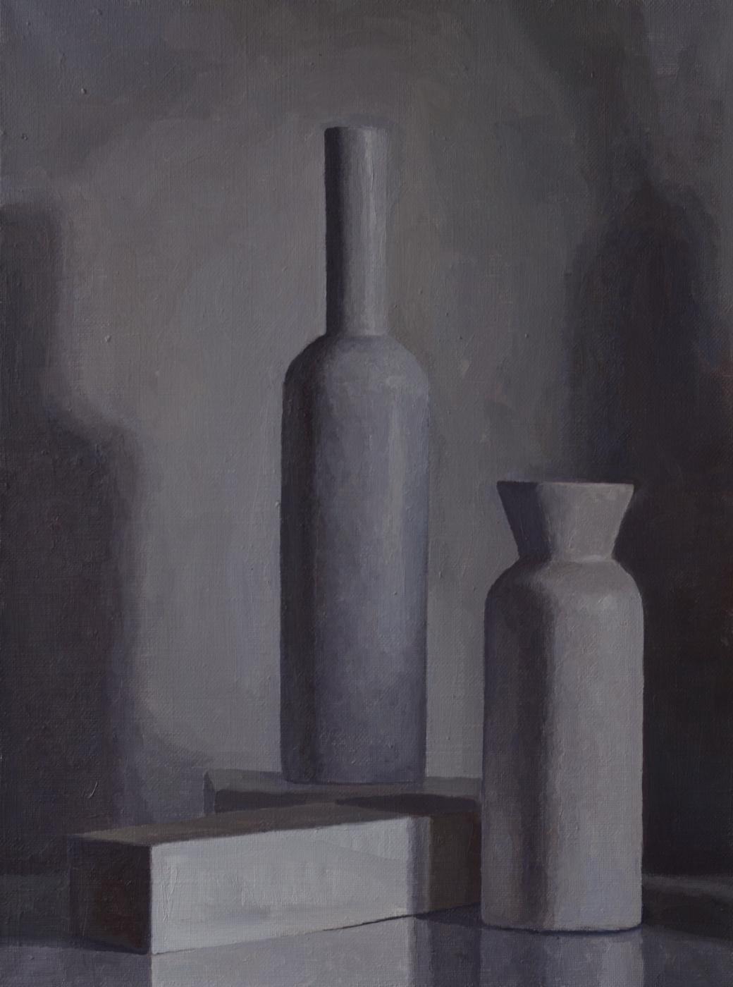Pavel Viktorovich Petrov. Still life with gray bottles