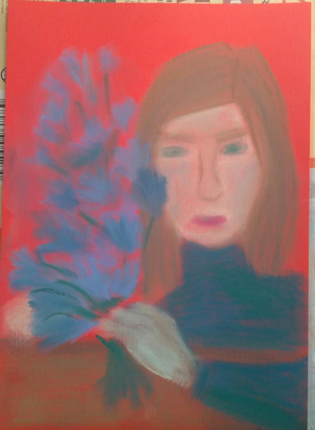Полина Алексеевна Александрова. Girl with a blue bouquet