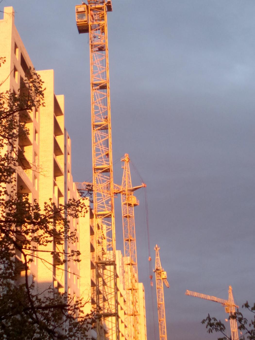"""Alexey Grishankov (Alegri). """"Tower cranes at sunset"""""""