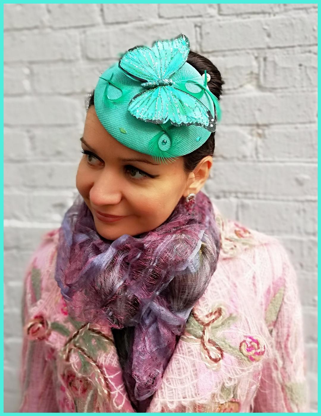 "Natalia Vladimirovna Solntseva. Hat ""Turquoise Butterfly"""