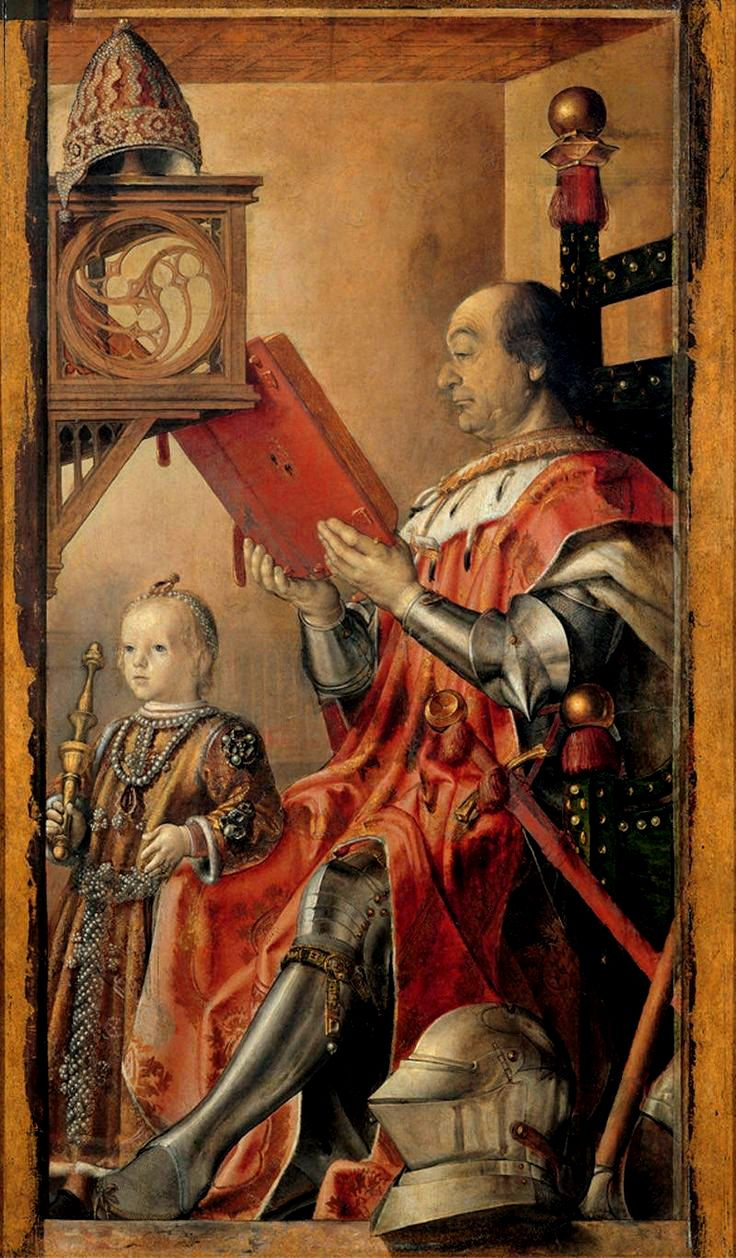 Pedro Berruguete. The Duke of Urbino, federigo da Montefeltro with his son, Guidobaldo