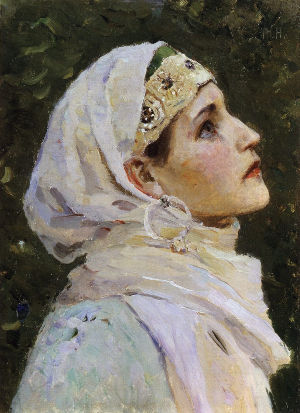 """Mikhail Vasilyevich Nesterov. The head of the Princess. Study for the painting """"Two Lada"""""""