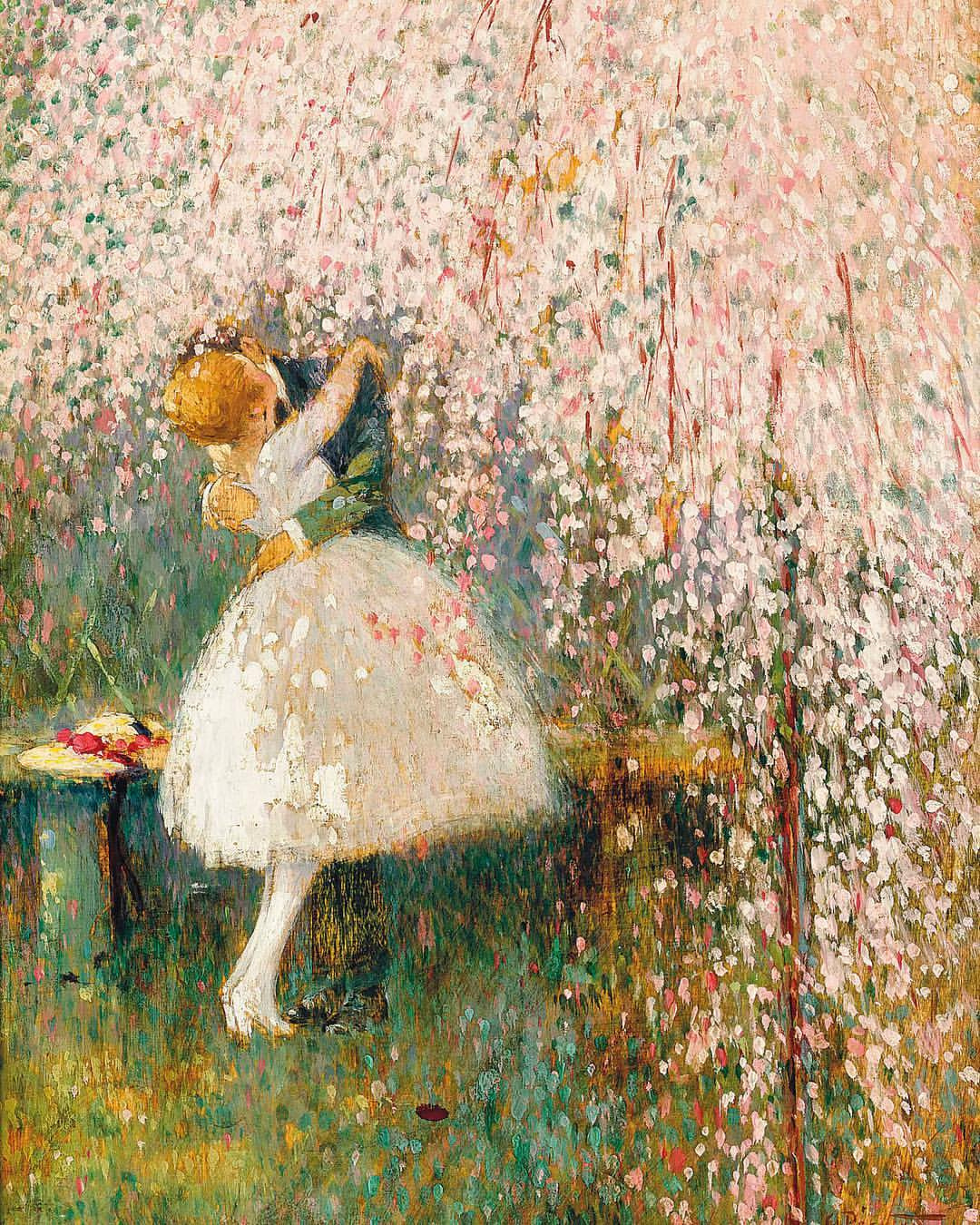 Georges Picard. A novel under a tree in bloom.
