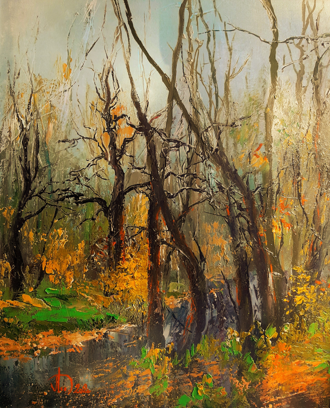 Alexander Alekseevich Lednev. Stream in the spring forest