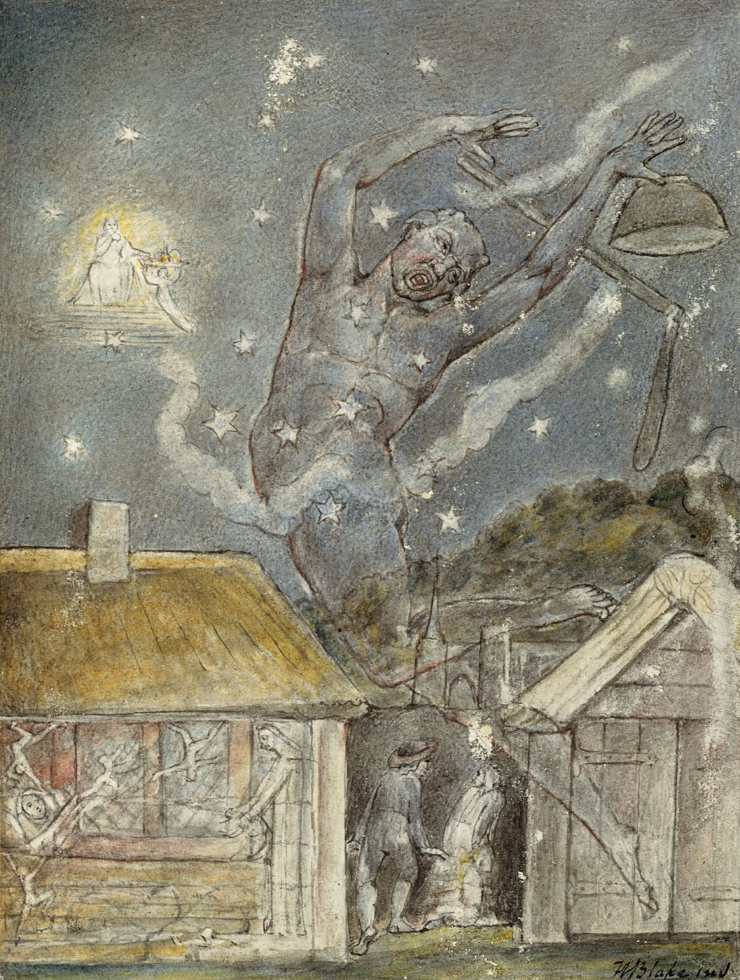 """William Blake. Goblin. Illustrations to the poems of Milton's """"Fun"""" and """"Thoughtful"""""""