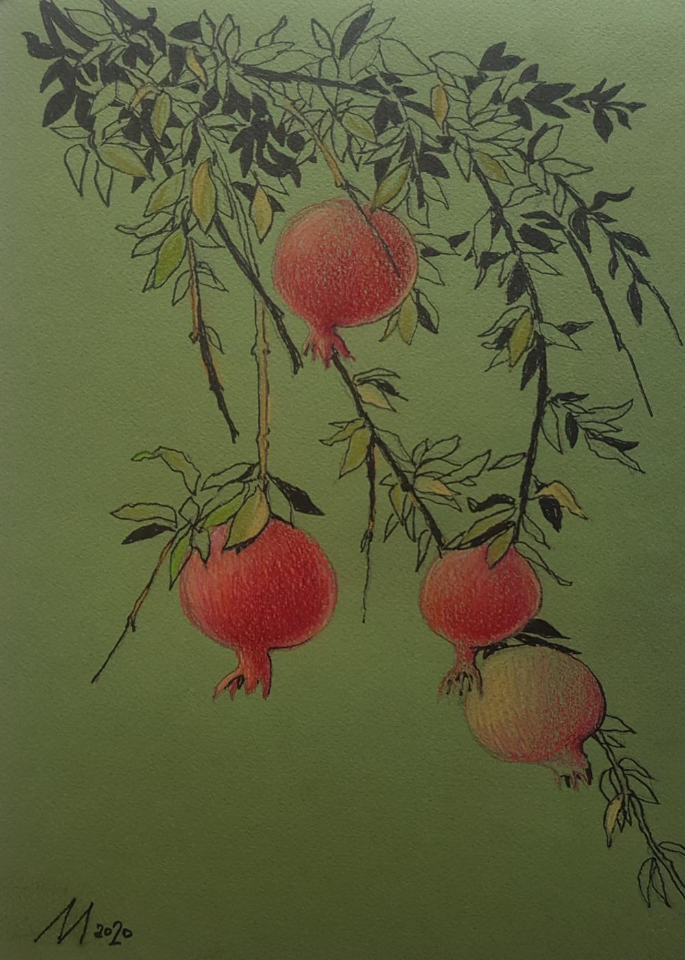 Larisa Lomakina. Pomegranate branches