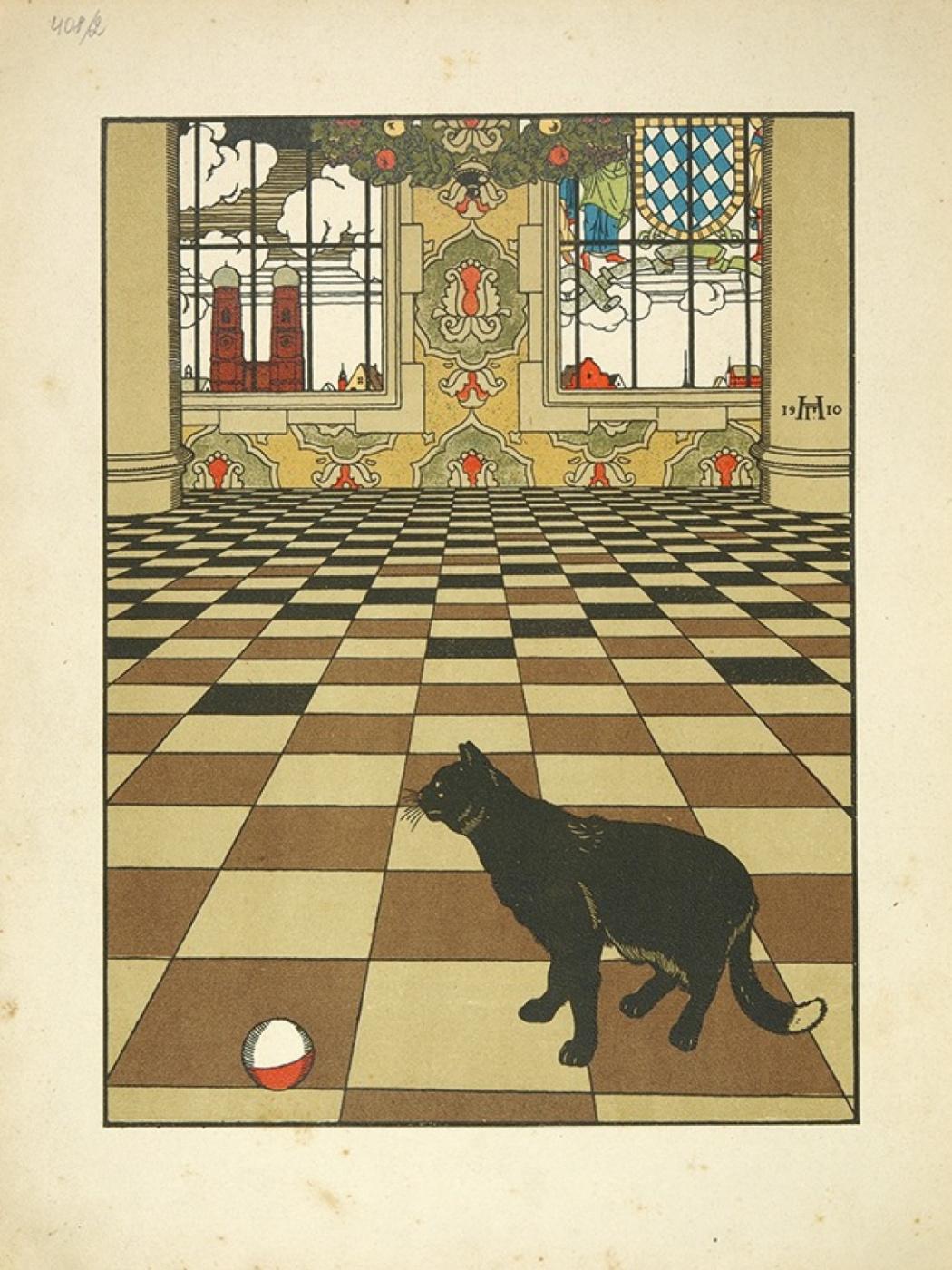 """Георгий Иванович Нарбут. Illustration for Zhukovsky's book """"How the Cat Mice were Buried"""