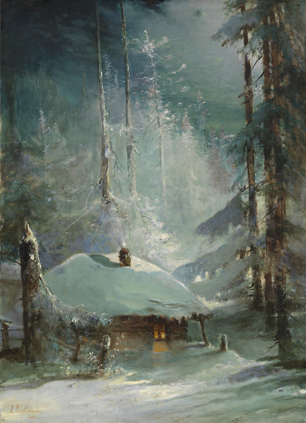 Alexey Savrasov. Hut in winter forest