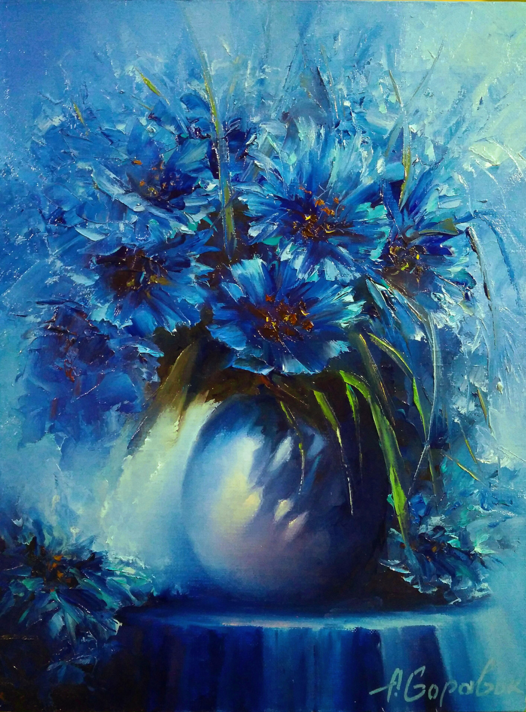 Andrei Ivanovich Boravik. Cornflowers in the moonlight