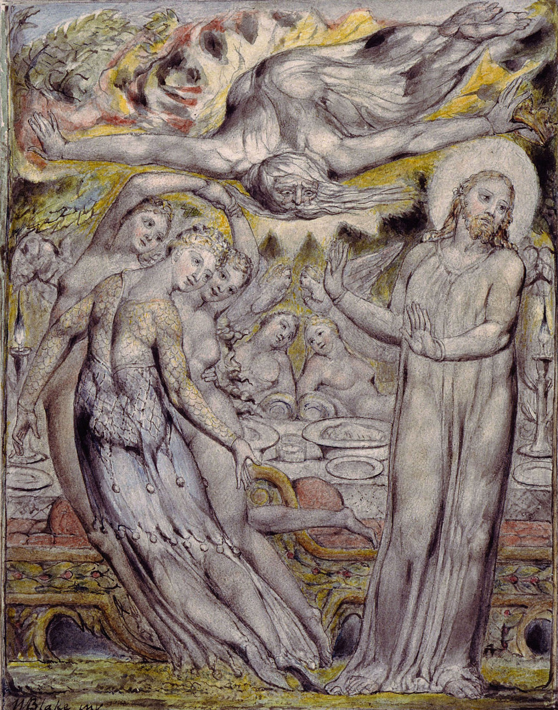 "William Blake. Christ refuses to drink with Satan. Illustration to the poem by Milton, ""Returned to Paradise"""