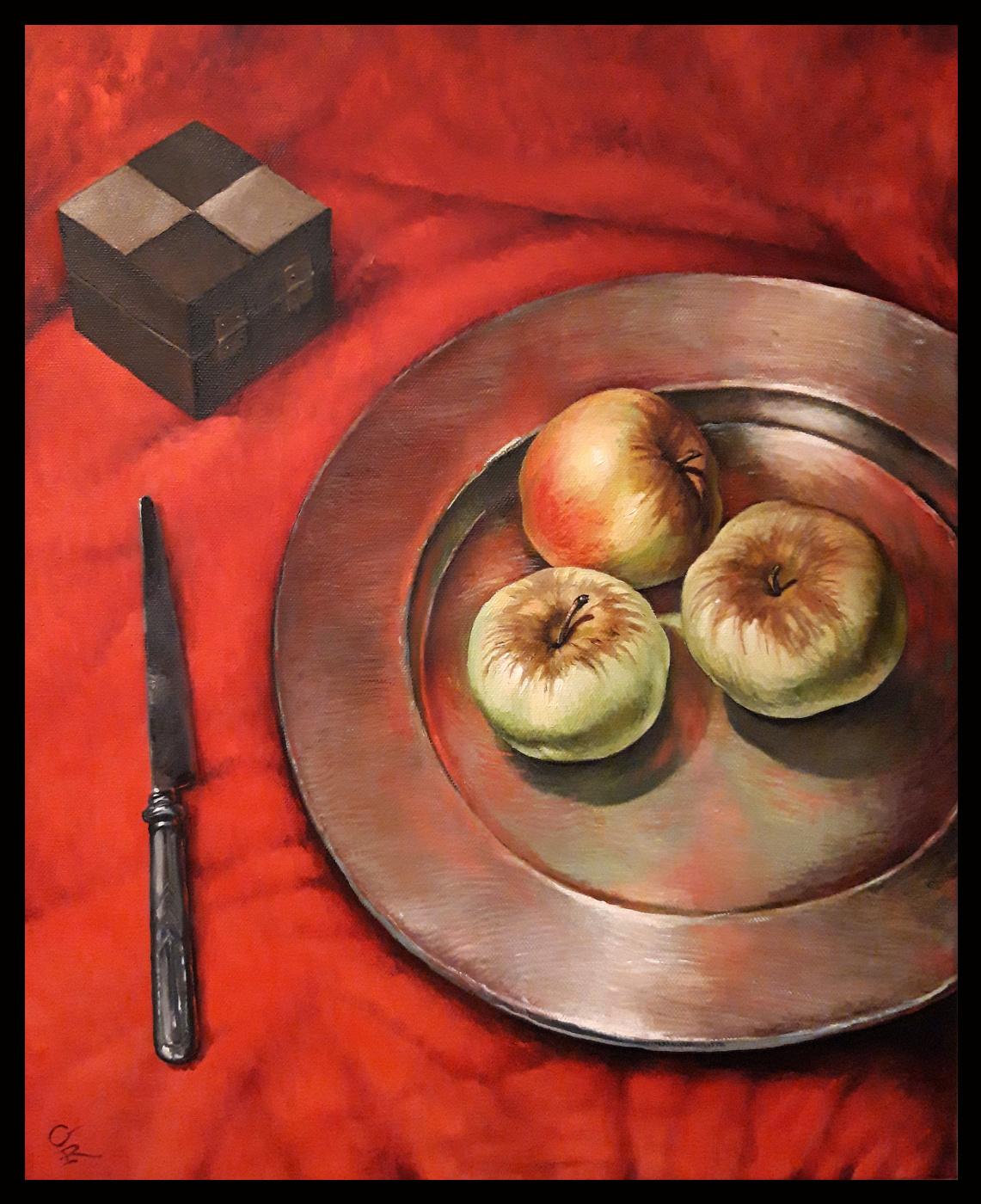 Olga Ray. Красный натюрморт с яблоками