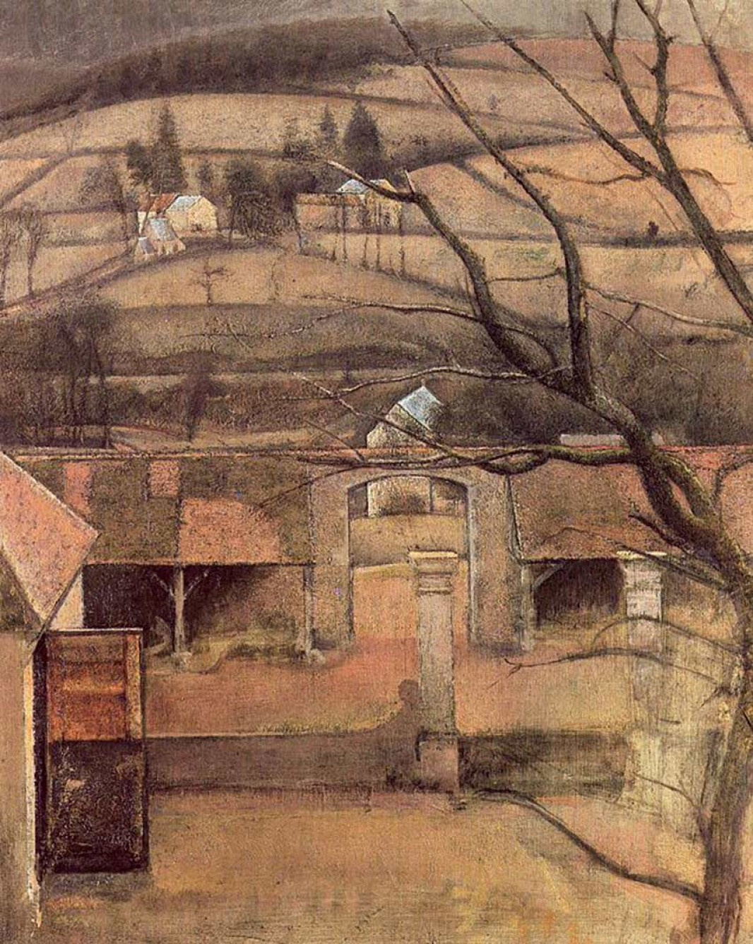 Balthus (Balthasar Klossovsky de Rola). Landscape and courtyard in the Chateau de Chassis