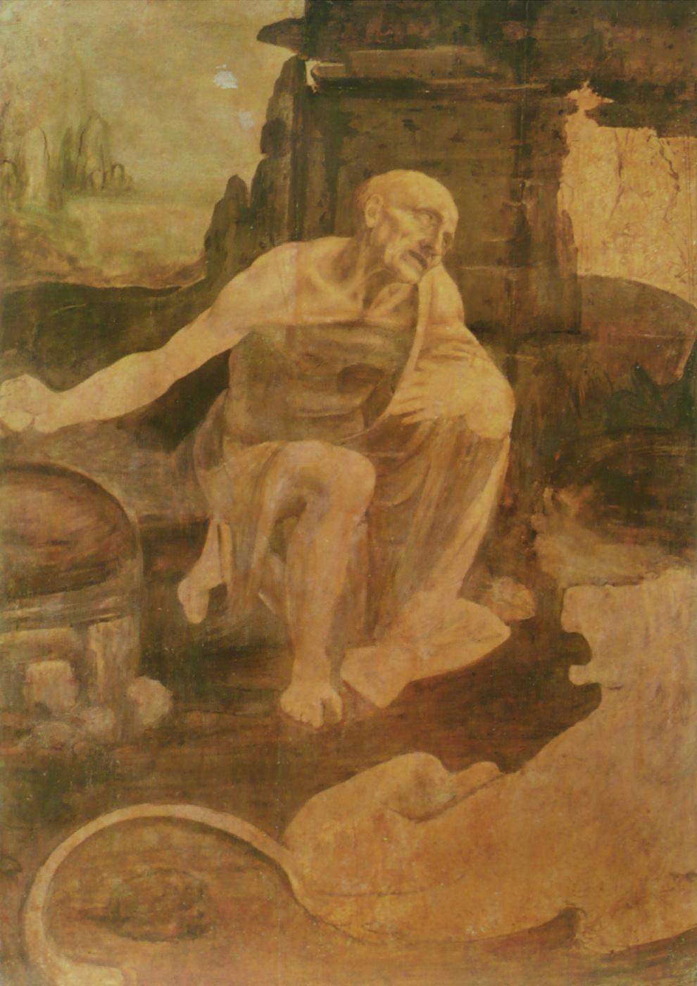 Leonardo da Vinci. Saint Jerome in the desert