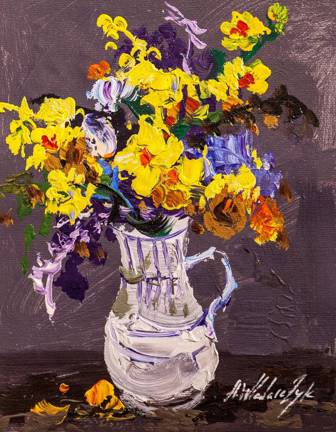 """Andrzej Vlodarczyk. Still life with oil """"Multi-colored bouquet in a jug"""""""