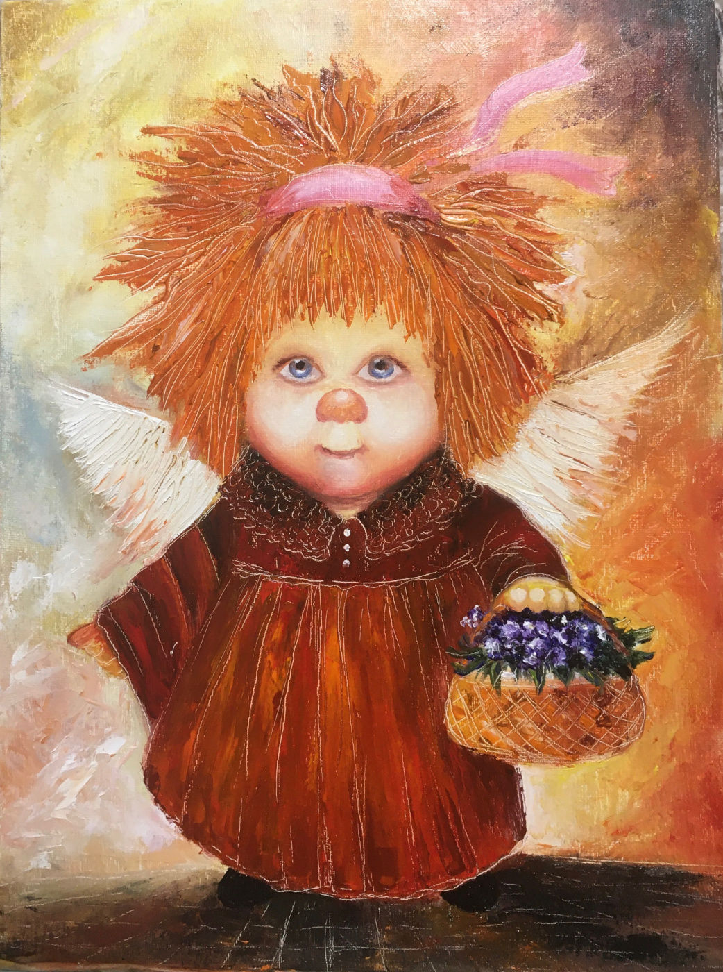 Svetlana Ivanova. Angel with a basket of violets