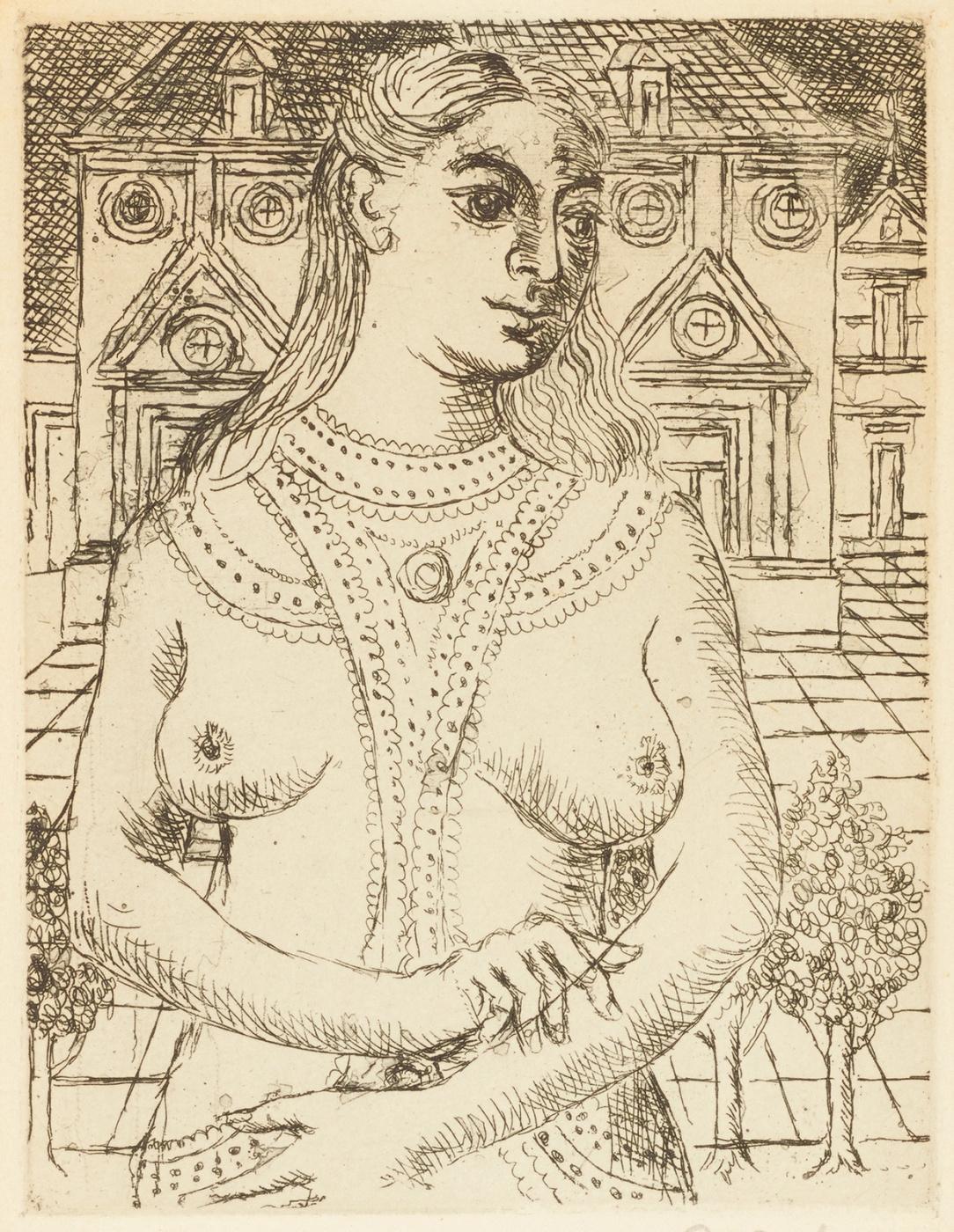 Paul Delvaux Belgium 1897-1994. Bust of a woman. 1965