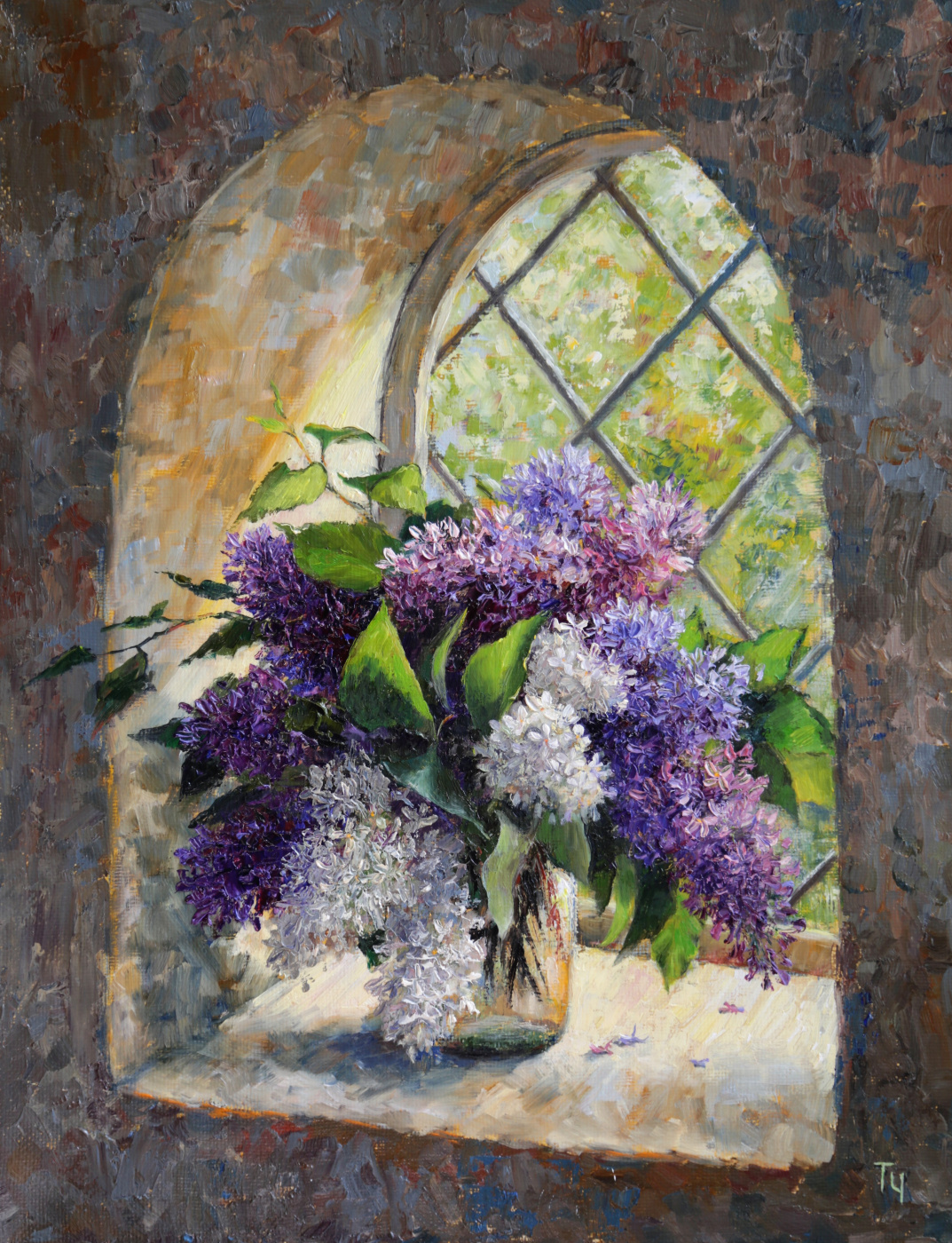 Tatyana Chepkasova. Lilac in the window