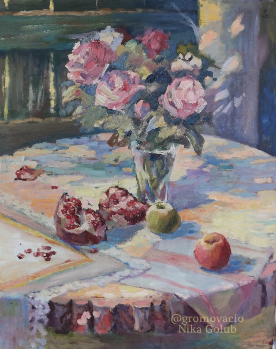 "Nika Golub. ""Still life with pomegranate and roses"" / ""Still life with pomegranate and roses"""