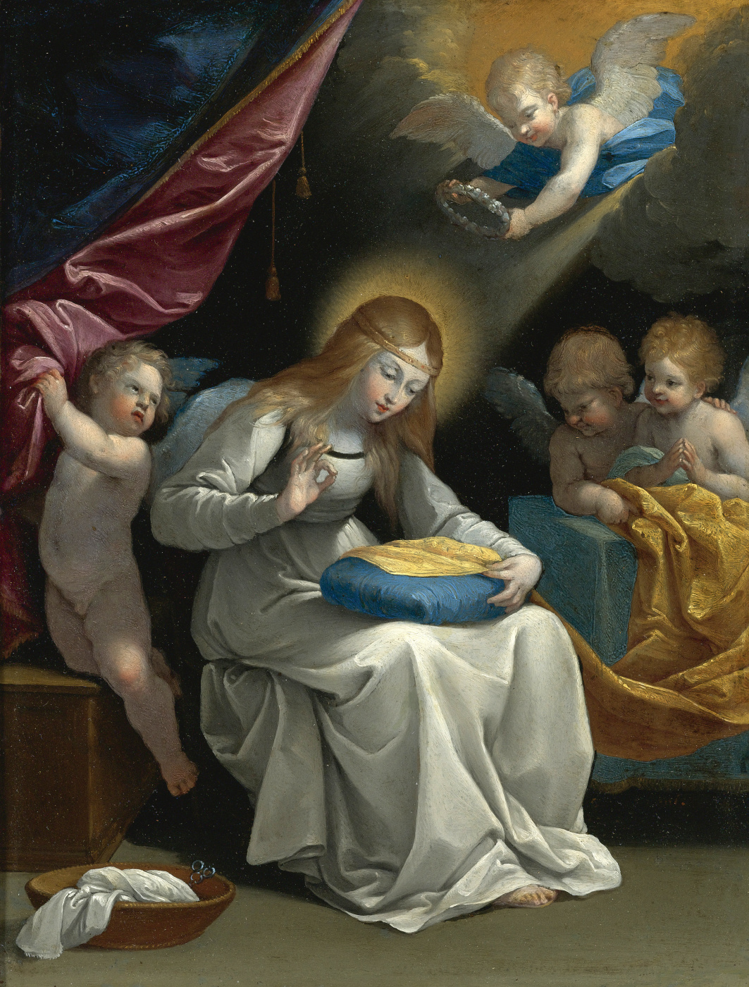 Guido Reni. Virgin Mary embroiders in the arms of angels.