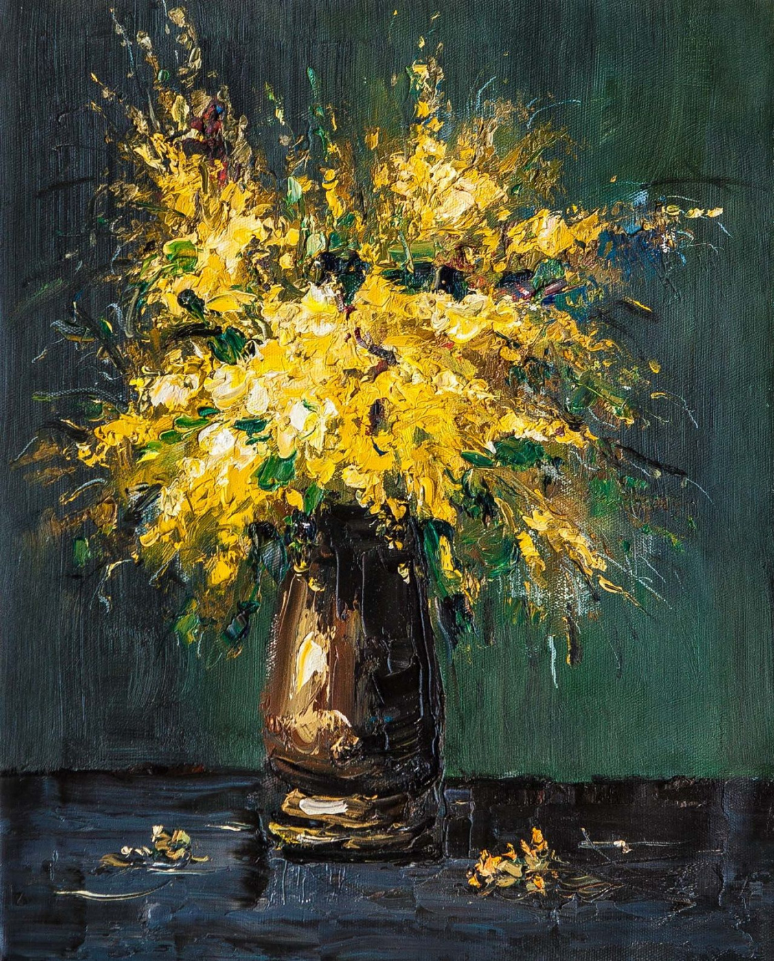 (no name). Mimosa bouquet in a vase