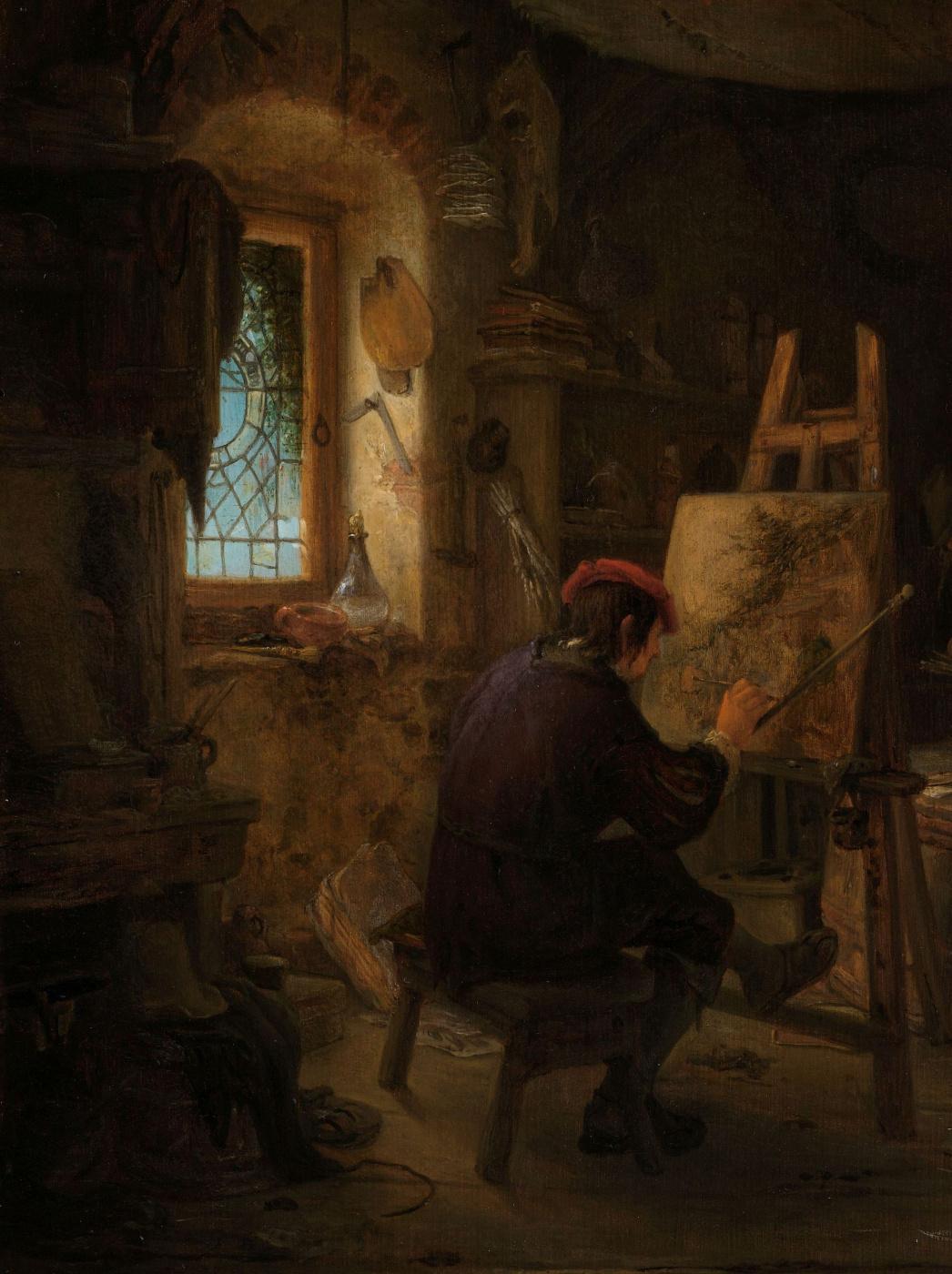 Adrian Jans van Ostade. The artist's Studio. Fragment. The artist in the interior