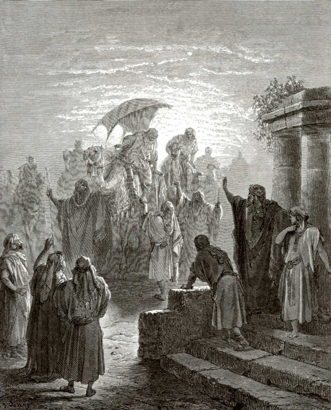 Paul Gustave Dore. Bible illustrations: Isaac meets Rebekah