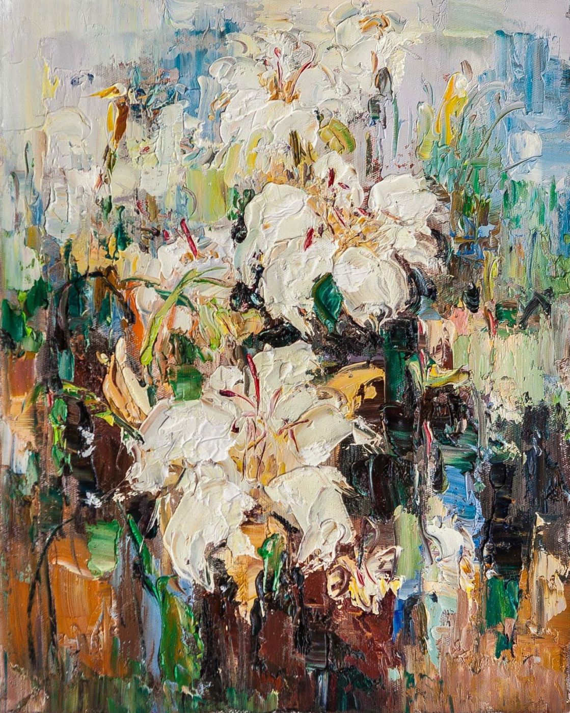 (no name). Bouquet of white lilies