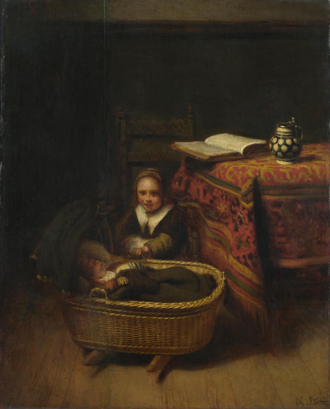 Nicholas Mas. Little girl rocking the cradle