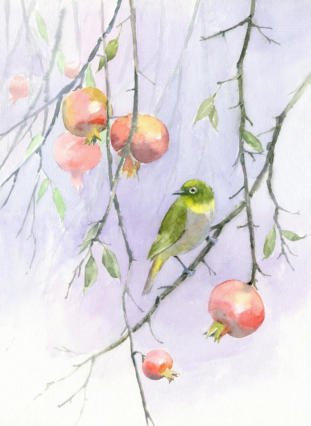 Smbat Arayevich Bagdasaryan. Bird on a pomegranate branch