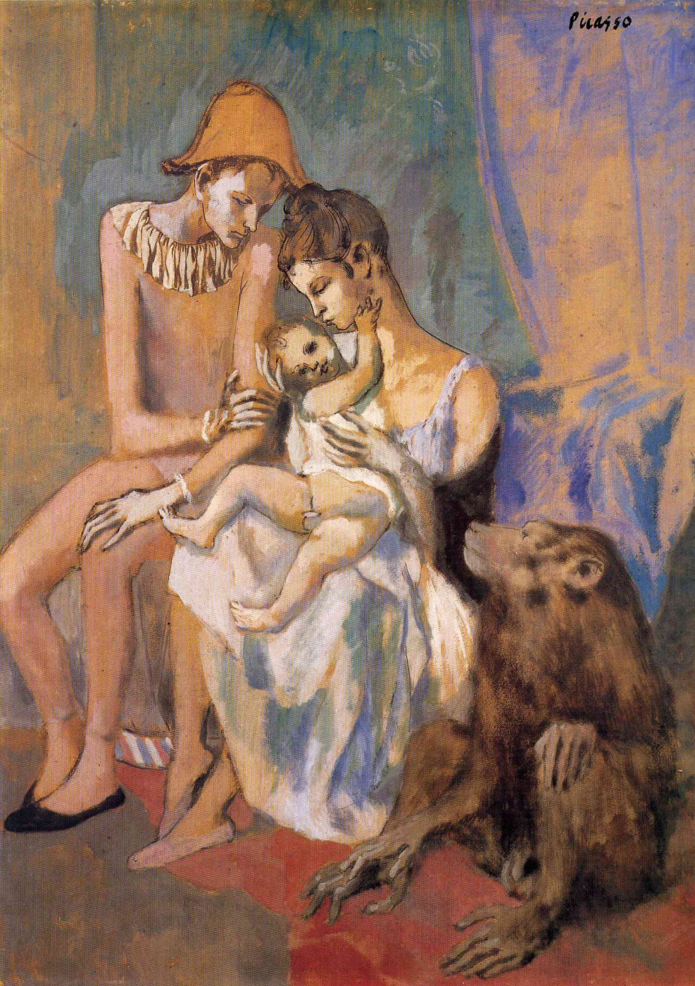 Pablo Picasso. Family of acrobats with a monkey