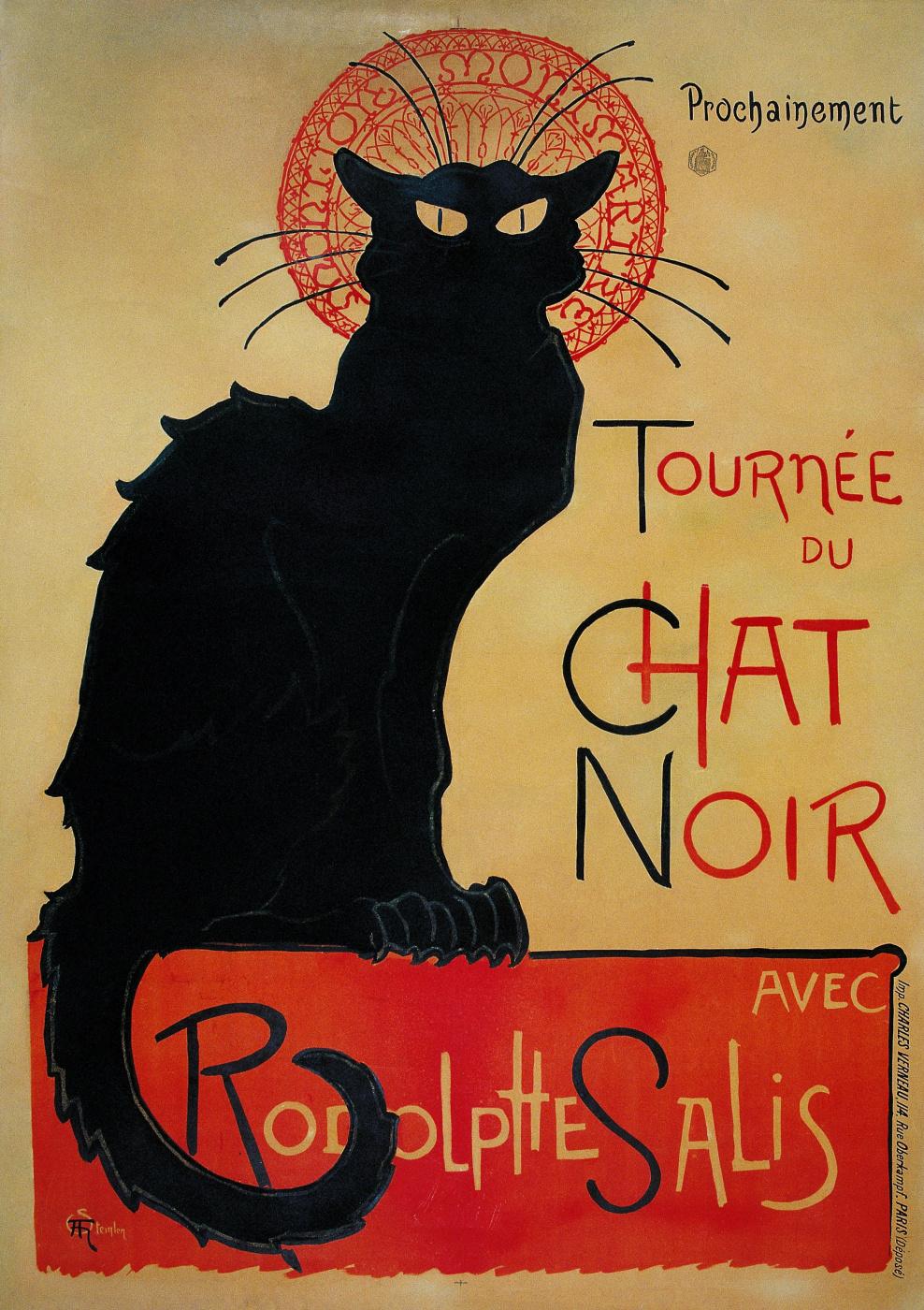 """Theophile-Alexander Steinlen. """"The black cat"""" (Le Chat Noir)"""