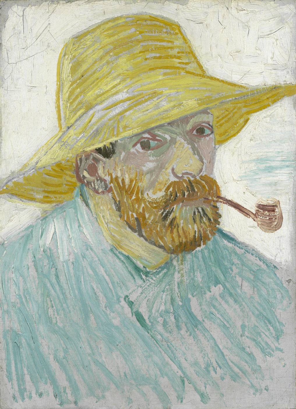 Vincent van Gogh. Self-portrait in a straw hat with a pipe