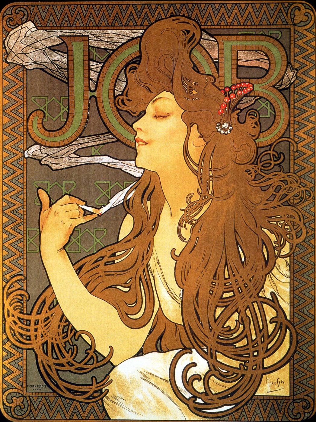 """Alfonse Mucha. Advertising poster for the tissue paper """"job"""""""
