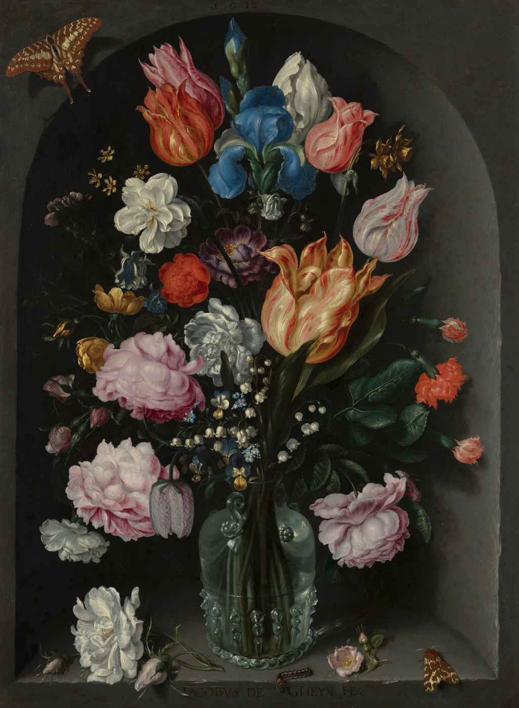 Jacob de Heine. Still life with a glass vase in a niche