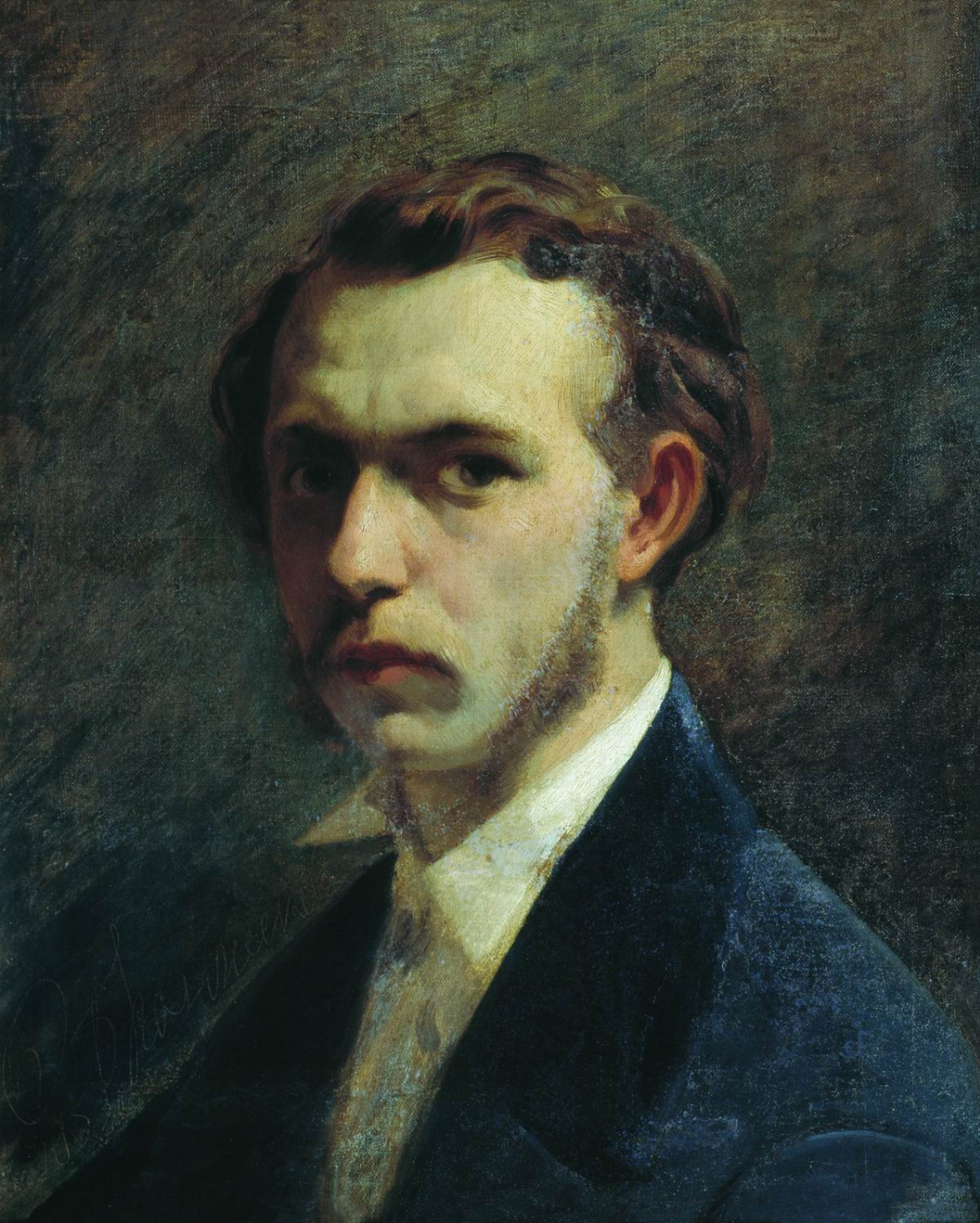 Fedor Andreevich Bronnikov. Self-portrait of the artist as a young man. 1853