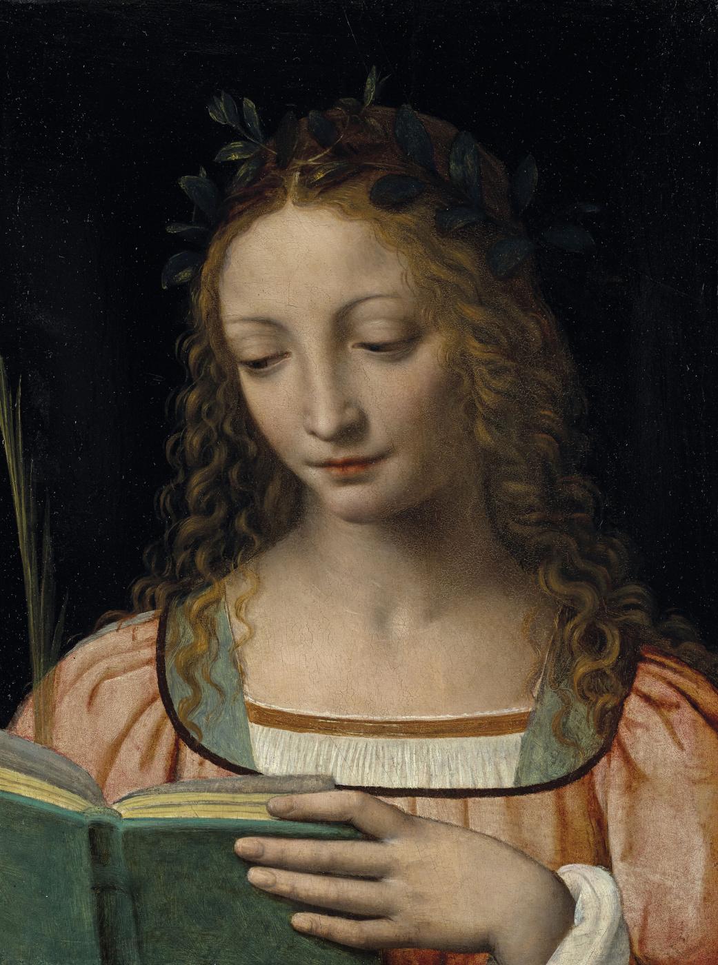Bernardino Luini. Une figure de sainte, en buste, avec une palme et lisant les Ecritures