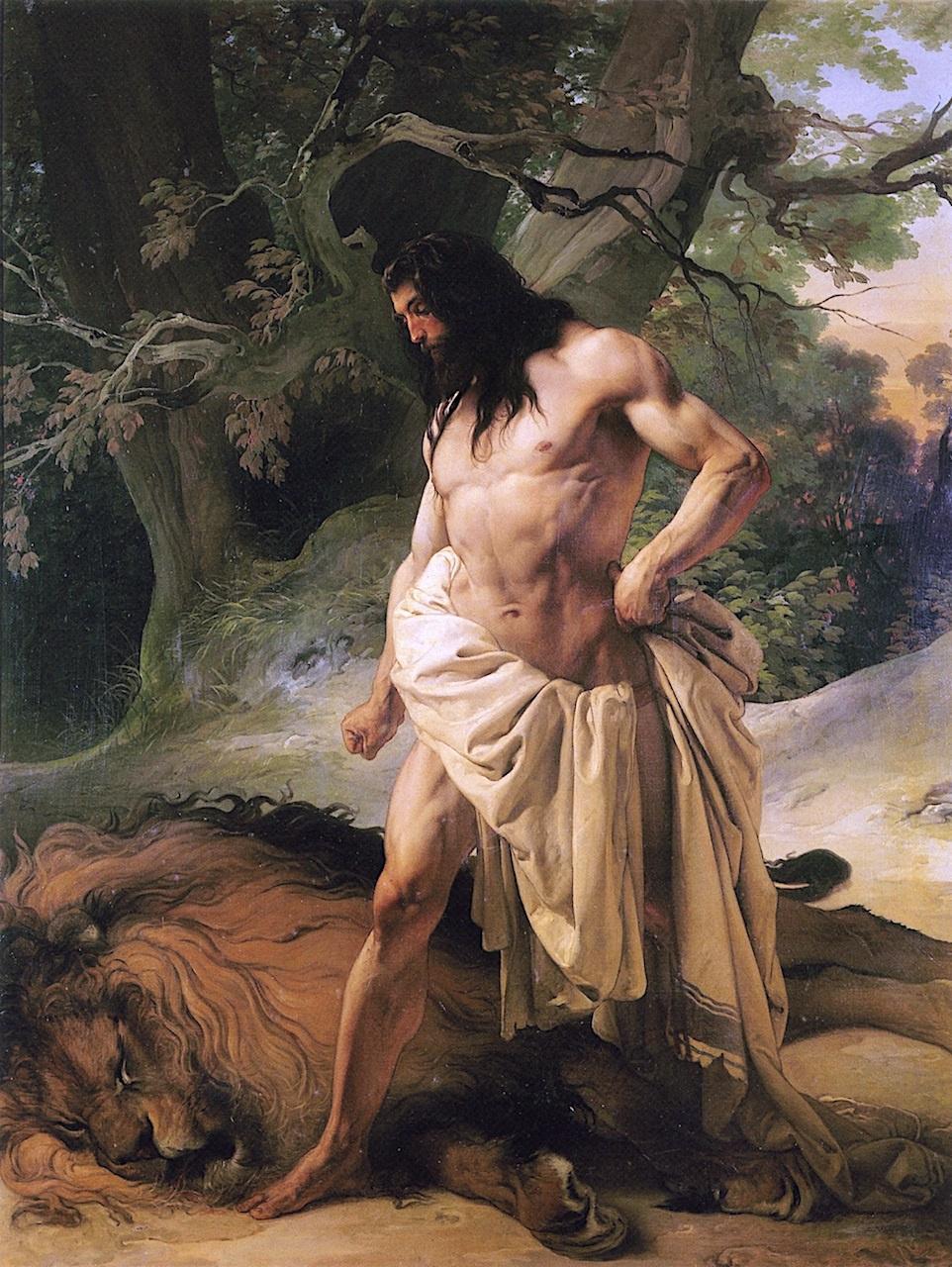 Samson over a slain lion