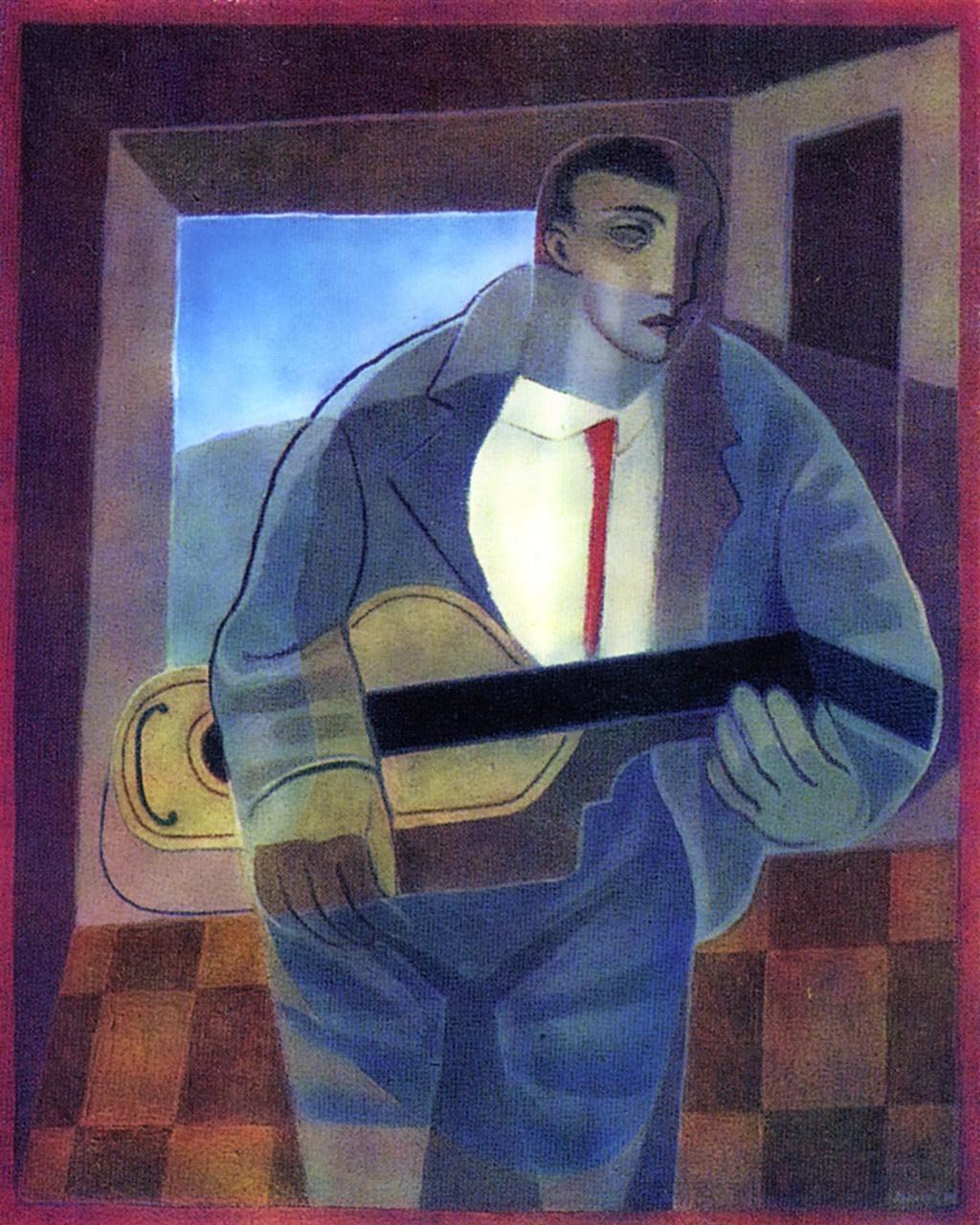 Juan Gris. A man with a guitar