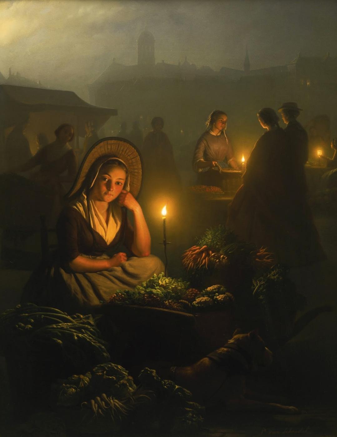 Петрус ван Шендель. Ночной рынок в Амстердаме с Новой церковью.