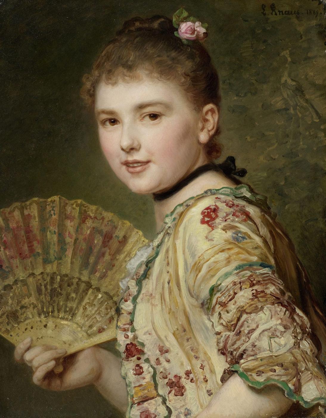 Ludwig Knaus. Yoke. Young lady with a fan