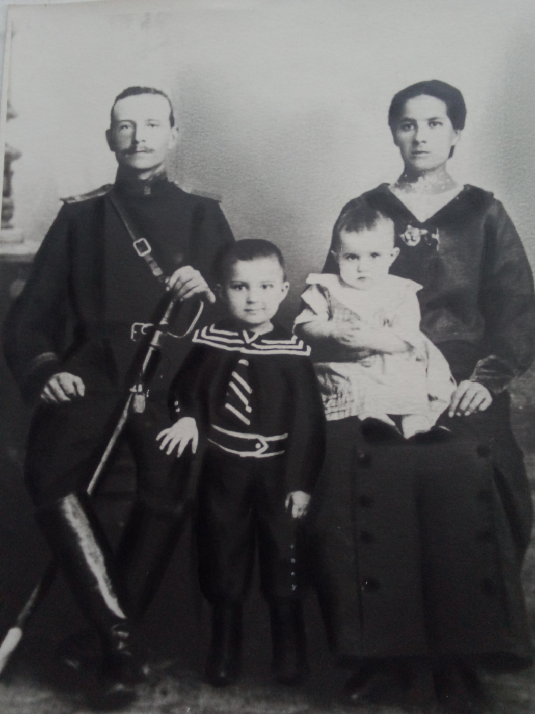 """Alexey Grishankov (Alegri). """"From Russian family albums. Dmitry Mikhailovich with his family. Member of the 1st World War. 1914"""""""