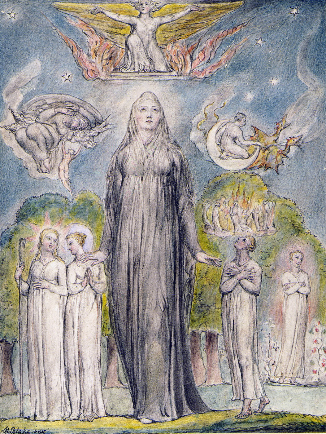 """William Blake. Melancholy. Illustrations to the poems of Milton's """"Fun"""" and """"Thoughtful"""""""